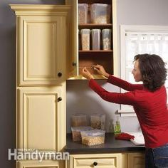 Kitchen Cabinets Tune-Up: Take an afternoon and follow the 14 great fixes from Family Handyman to correct problems with your kitchen cabinets. Don't forget the bathroom cabinets too.