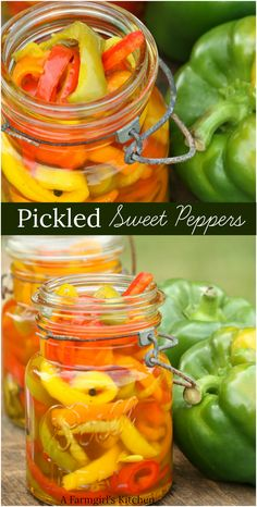 Homemade Pickled Sweet Peppers are simple to make and so flavorful. Sweet Pickled Peppers are easy to make. The best Pickled Peppers recipe. Pickled Pepper Recipe, Pickled Sweet Peppers, Pickled Vegetables Recipe, Pickled Banana Peppers, Canning Vegetables, Recipes With Banana Peppers, Sweet Banana Peppers, Green Pepper Recipes, Stuffed Banana Peppers