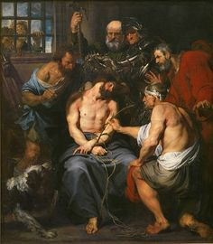 """Anthonis van Dyck, Christ Crowned with Thorns,  c. 1620 oil on canvas 223 × 196 cm (87.8 × 77.2 in) Prado Museum Flagellation and Crowning with Thorns, this episode takes place after interrogation by Pilate, who washes his hands and delivers Jesus over to soldiers, who beat Him with whips stuck with lead and fragments of bone; after that the soldiers dress Him in purple, give Him a reed sceptre and put on His head a crown made of thorns, then they marched past Him, shouting """"Hail, King of…"""