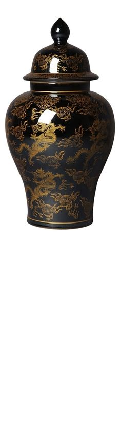 Temple Jars, Black & Gold Chinese Dragon Temple Jar, so beautiful, inspire your friends and followers interested in luxury interior design & gifts with more beautiful accents like this from InStyle Decor Beverly Hills, Luxury Designer Furniture, Mirrors, Lighting, Art, Accents & Gifts, over 3,500 inspirations to choose from and share with our simple one click Pinterest Pin button enjoy & happy pinning