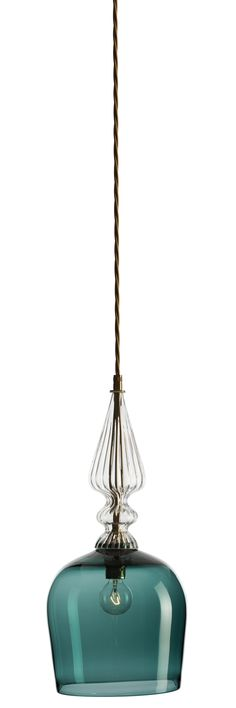 Spindle shade pendant hand blown glass light in steel blue with brass metalwork