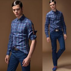 Men Vintage 70s Style Blue Plaid Button Down Hipster Casual Shirts SKU-11407266