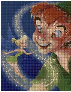 Peter Pan n tink Cross Stitch Designs, Cross Stitch Patterns, Cross Stitching, Cross Stitch Embroidery, Stich Disney, Looney Tunes Cartoons, Seed Bead Patterns, Tinker Bell, Disney Crafts
