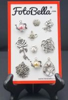 Tea & Rose Charms hand selected by FotoBella for Basic Grey Tea Garden (10 charms)