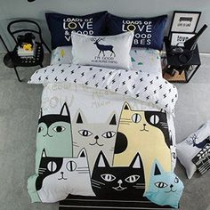 Cliab Cat Bedding Set Queen Size Black and White Girls  Cotton Duvet Cover    If you are crazy for cats consider using trendy, fun and cool cat themed home decor.  Cat home decor is cute, adorable and charming.  Use cat accent pillows with cat wall clocks to create a cat themed living room or bedroom.  For the kitchen consider using a nice combo of cat drinking glasses and cat kitchen decor to create a perfect cat oasis. Don't forget to finish off your  cat home decor with a cuddly cat throw