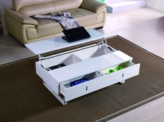 DECO IN PARIS - Table basse laque blanc mutifonction easy easy laque blanc