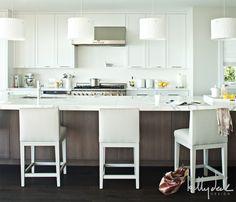 White and Brown Kitchen - Contemporary - kitchen - Kelly Deck Design Concrete Kitchen, Contemporary Kitchen, Kitchen Design, Shaker Kitchen Cabinets, White Modern Kitchen, Small Room Decor, Brown Kitchens, Kitchen Interior, Kitchen Stools
