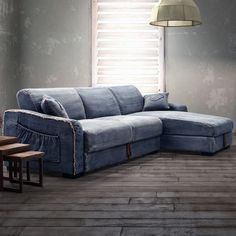 a blue denim sectional couch that has hidden storage under the seats and side pockets. : denim sectional couch - Sectionals, Sofas & Couches