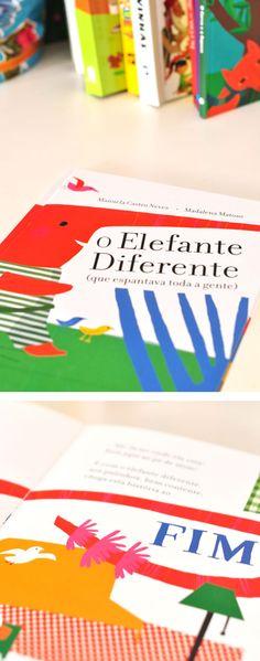 livro O Elefante Diferente (que espantava toda a gente) - Editora Caminho, escrito por Manuela Castro Neves e ilustrado por Madalena Matoso