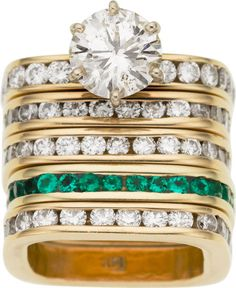 Diamond, Emerald, Gold Rings  square rings. so comfortable