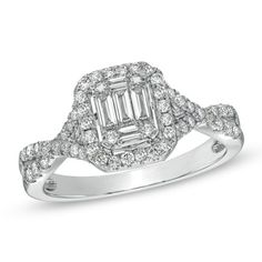 My engagement ring. Baguette diamonds with diamond cross cross frame.