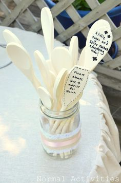 bridal shower spoon advice bouquet or for the guest to write on for decor for kitchen.
