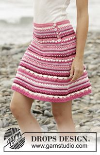 Berry Ripple crocheted skirt pattern, free from Garnstudio