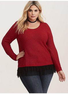 d125a70d7e1 TORRID   Red   Black Knit Mesh Trim Sweater
