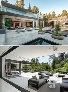 This house has various outdoor entertaining spaces, water features and sun lounges.