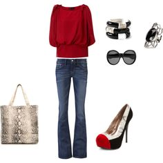 Shoes are too much but love the red shirt!
