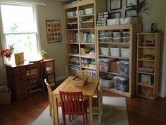 Simple Little Home: Our School Room. An awesome homeschool room! Home Childcare, Preschool Rooms, Home Learning, Learning Spaces, Planning And Organizing, Room Setup, Room Organization, Learning Organization, Small Tables