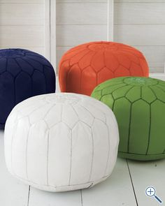 Moroccan Leather Pouf in WHITE! would make a great and comfy hangout room! These colors look good with white Moroccan Pouffe, Moroccan Room, Moroccan Leather Pouf, Prince Nursery, Study Nook, Baby Center, Big Girl Rooms, New Home Designs, Boho Baby