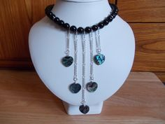 Agate and abalone heart necklace £12.00