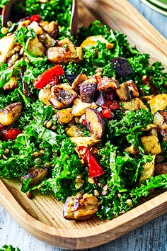 This delicious salad is packed full of flavour and textures, proving that healthy lunches don't have to taste boring. You'll love the combination of flavours and sweet pomegranate dressing. Lentil Salad Recipes, Vegetarian Recipes, Cooking Recipes, Healthy Lunches, Healthy Salads, Roast Eggplant, Roast Dinner, Kale Salad, Mystery Box