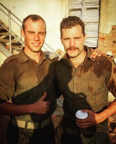 Jamie Dornan and another cast member BTS on the set of The Siege at Jadotville http://www.everythingjamiedornan.com/ http://www.everythingjamiedornan.com/gallery/thumbnails.php?album=35