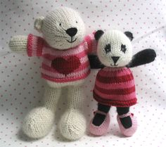 Pheobe and Pandora - Little Cotton Rabbits white bear and Panda