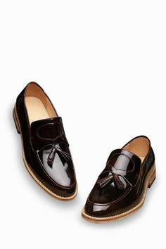 Natural Leather Loafers In Burgundy With Tassel Front