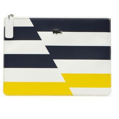 Lacoste Gabriella striped zippered clutch (56.285 CLP) ❤ liked on Polyvore featuring bags, handbags, clutches, hand bags, white purse, striped handbag, lacoste purse and stripe handbag