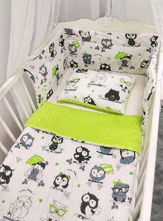 Komplet pościeli do łóżeczka 60x120 z wypełnieniem zielone sowy z zielenią