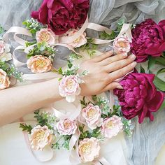 Wrist corsages made with paper flowers, faux greenery. Perfect for any party, photo shoot, celebrations, weddings! My shop: https://www.etsy.com/shop/FlowersBySveta?ref=hdr_shop_menu ------------------------------------- COLORS Shades of color may appear lighter or darker on different