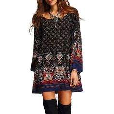 Women Dress 2018 Ladies Sexy Mini Vintage Print Dress O Neck Long Sleeve Floral Casual Ethnic Short Veatidos Mini Shirt Dress, Short Mini Dress, Long Sleeve Mini Dress, Plaid Fashion, Ethnic Fashion, Boho Fashion, Fashion Top, Cheap Fashion, Fashion Women