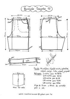 Sewing Shorts, Diy Shorts, Sewing Clothes, Diy Clothes, Barbie Sewing Patterns, Clothing Patterns, Dress Patterns, Como Fazer Short, Costura Fashion