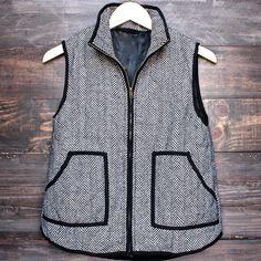 herringbone quilted puffer vest - shophearts - 1