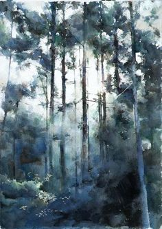 Watercolor forest by Liu Tinghao #watercolor #painting #forest #trees #watercolorart