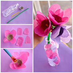 Make beautiful tissue paper egg carton tulips for a Mother's day gift or spring craft for kids!