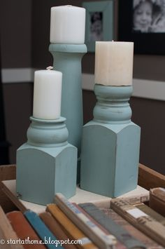 Candle holders made from old table legs or railing posts.   Start at Home: living room