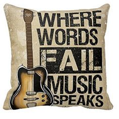 New Bedding Outlet Guitar Pattern Letter Cushion Cover Decorative Pillow Case Cover Cotton Linen Home Textile Modern 45x45cm #Affiliate