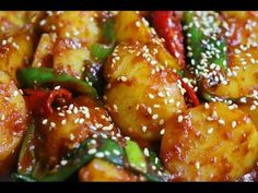Food Festival, Korean Food, Kung Pao Chicken, Pork, Cooking Recipes, Ethnic Recipes, Sweet, Kale Stir Fry, Candy