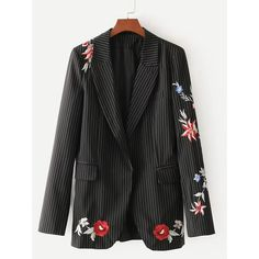 SheIn(sheinside) Vertical Striped Embroidered Tailored Blazer (120 BRL) ❤ liked on Polyvore featuring outerwear, jackets, blazers, black, striped blazer, tailored jacket, floral-print blazers, floral blazers and embellished blazer