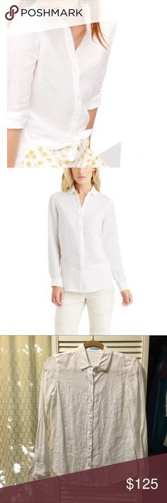 White Linen Button Up Only worn once J. McLaughlin Tops Button Down Shirts