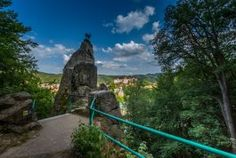 Looking from a different perspective, you can see Karlovy Vary from the Jelení skok (Deer Leap) Lookout. Different Perspectives, Tower, Plants, Lathe, Towers, Planters, Plant, Planting, Planets