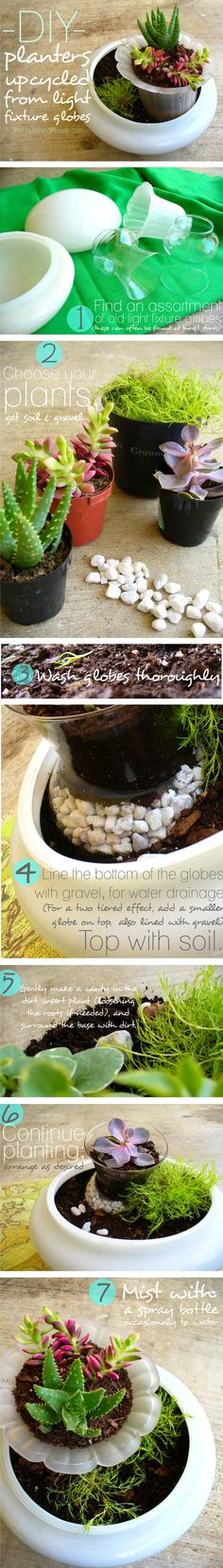 you are going to love this pin! :) using old light fixture globes in the garden.... brilliant. pretty. done. :)