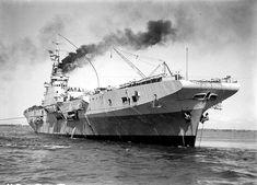 Feb. 21 1946: Maintenance carrier HMS PIONEER in Melbourne flying a paying off pennant - Allan C.Green [1878-1954] SLV.   by Kookaburra2011
