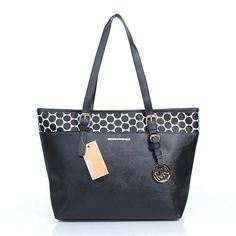 Michael Kors Kiki Dotted Large Black Totes
