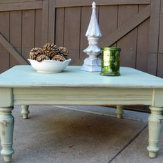 SOLD! = Sage Green Coffee Table, Painted and Distressed from Julies Box for $70 on Square Market