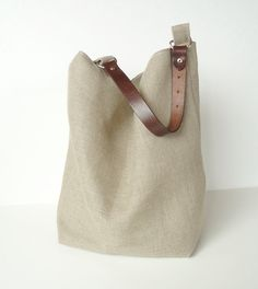 Linen Burlap Hobo Bag Slouchy Box Tote di JuneberryStitches, $52.00