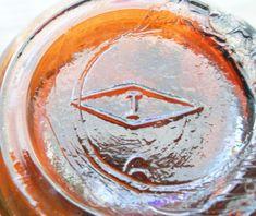 Mark on bottom of amber bottle made by Illinois Glass Company. Antique Glass Bottles, Bottles And Jars, Vintage Glassware, Glass Jars, Mason Jars, Milk Glass, Amber Bottles, Amber Glass, Bottle Maker