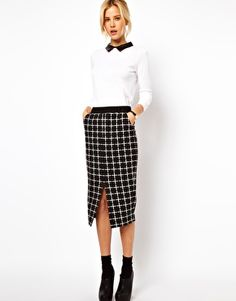 ASOS Ponte Pencil Skirt in Check