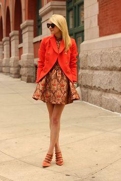 atlântico pacífico ootd moda JCrew tapeçaria vestido laranja blazer topshop