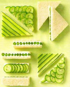 Really cool asparagus and cucumber finger sandwiches! Need that mandolin- and not slice your fingers...MARTHA MOMENTS: entertaining
